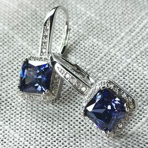 NWT Sterling Silver sapphire CZ drop earrings